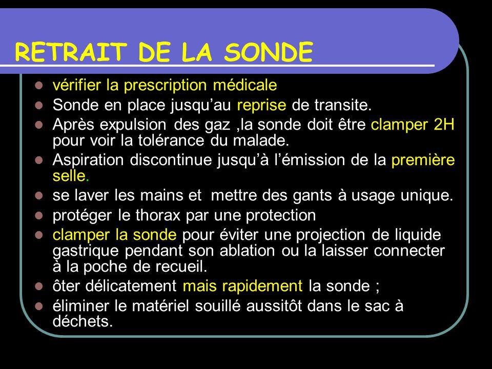 RETRAIT DE LA SONDE vérifier la prescription médicale Sonde en place jusquau reprise de transite. Après expulsion des gaz,la sonde doit être clamper 2