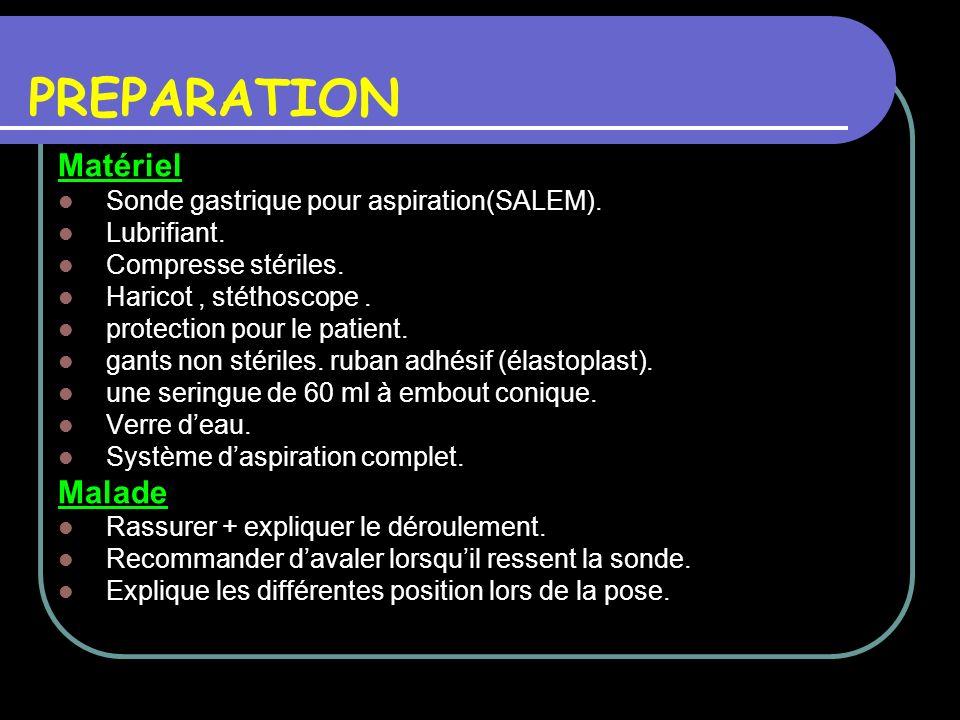 PREPARATION Matériel Sonde gastrique pour aspiration(SALEM). Lubrifiant. Compresse stériles. Haricot, stéthoscope. protection pour le patient. gants n