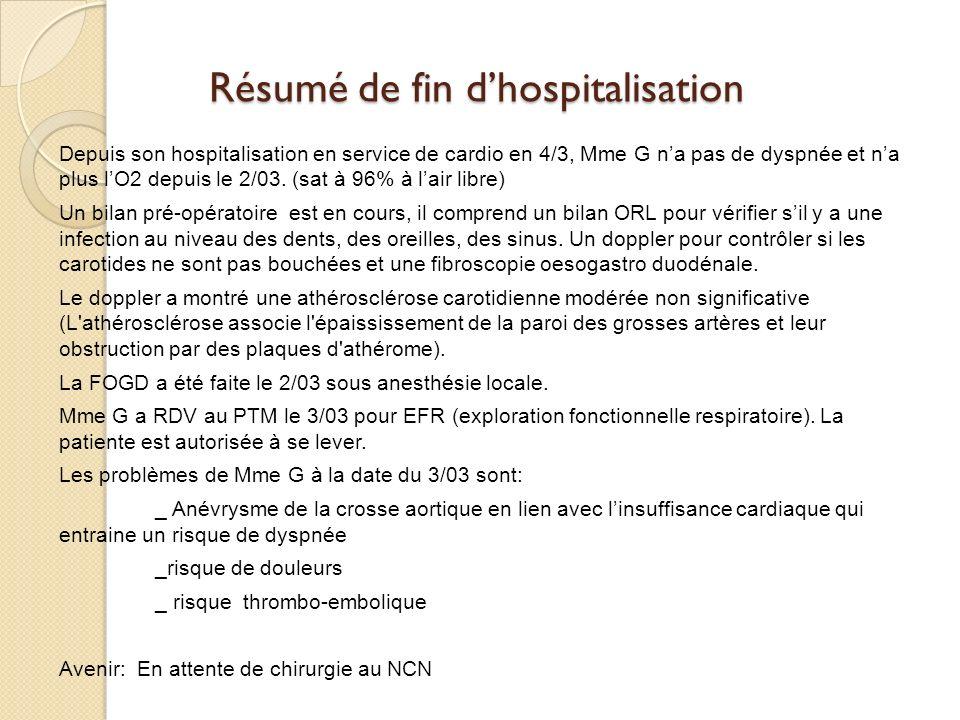 Résumé de fin dhospitalisation Depuis son hospitalisation en service de cardio en 4/3, Mme G na pas de dyspnée et na plus lO2 depuis le 2/03.