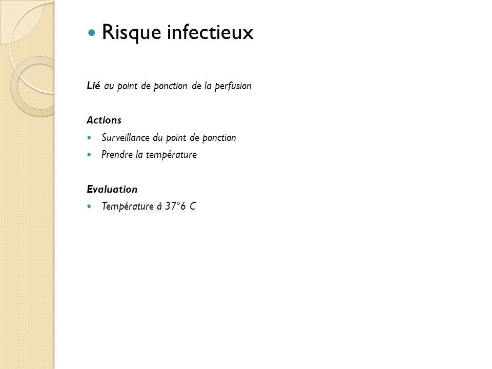 Risque infectieux Lié au point de ponction de la perfusion Actions Surveillance du point de ponction Prendre la température Evaluation Température à 37°6 C