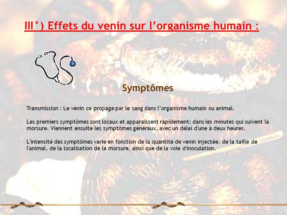 III°) Effets du venin sur lorganisme humain : Symptômes Transmission : Le venin ce propage par le sang dans lorganisme humain ou animal. Les premiers