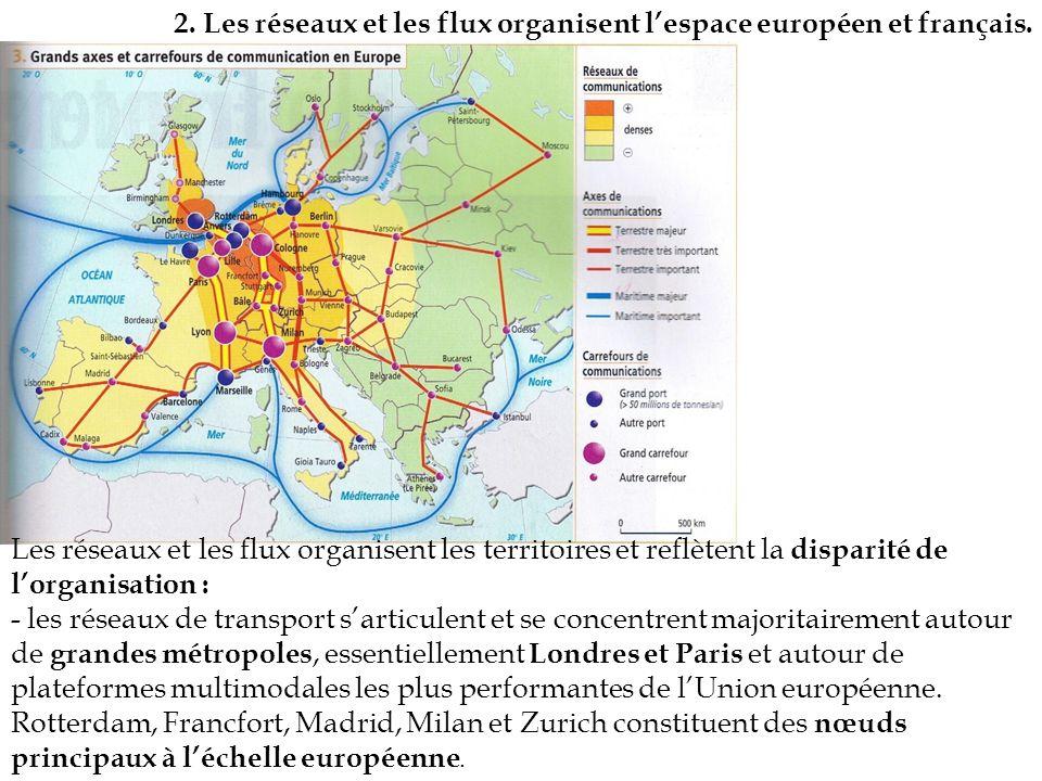 2. Les réseaux et les flux organisent lespace européen et français. Les réseaux et les flux organisent les territoires et reflètent la disparité de lo