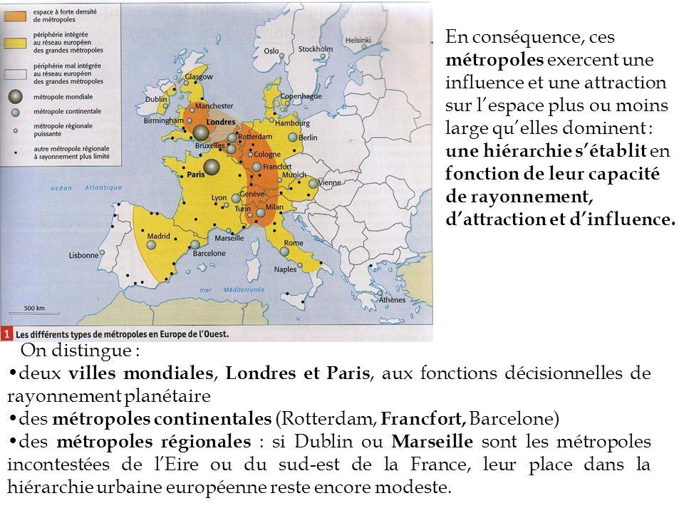 B.Les métropoles et les réseaux urbains organisent lespace européen et français.