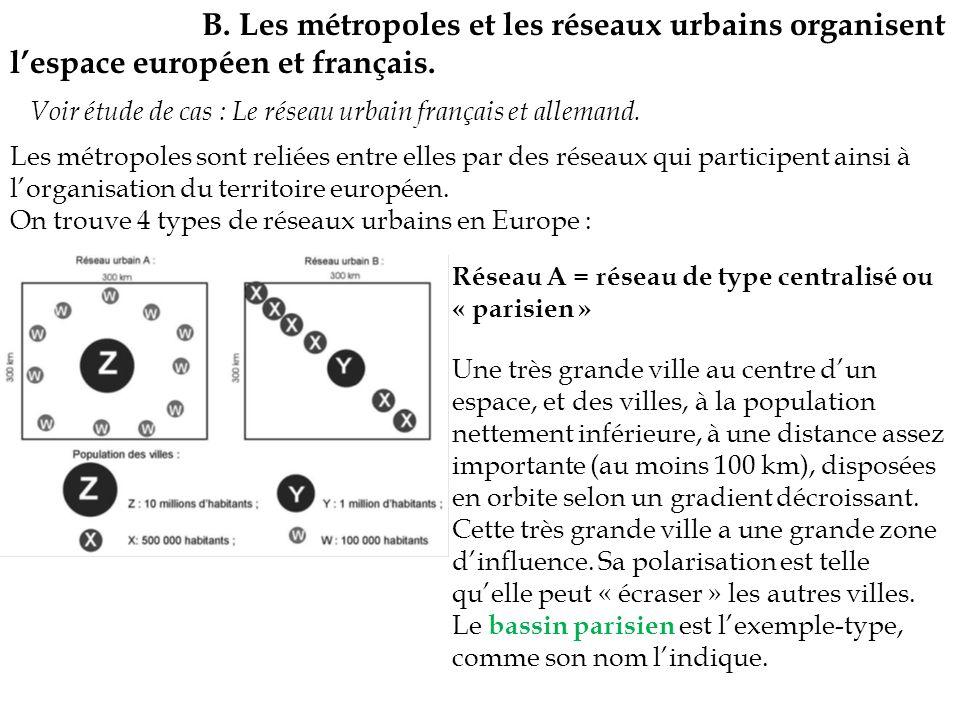 B. Les métropoles et les réseaux urbains organisent lespace européen et français. Voir étude de cas : Le réseau urbain français et allemand. Les métro