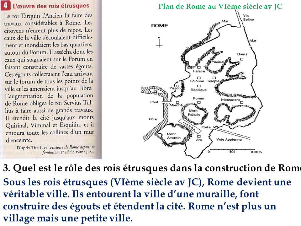 3. Quel est le rôle des rois étrusques dans la construction de Rome ? Plan de Rome au VIème siècle av JC Sous les rois étrusques (VIème siècle av JC),