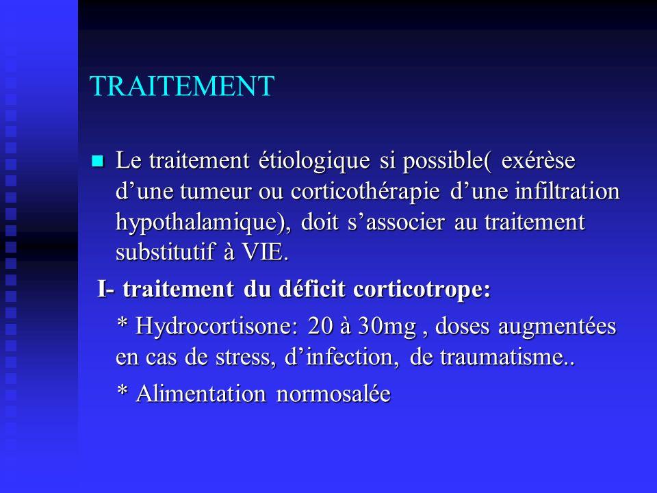 TRAITEMENT Le traitement étiologique si possible( exérèse dune tumeur ou corticothérapie dune infiltration hypothalamique), doit sassocier au traiteme
