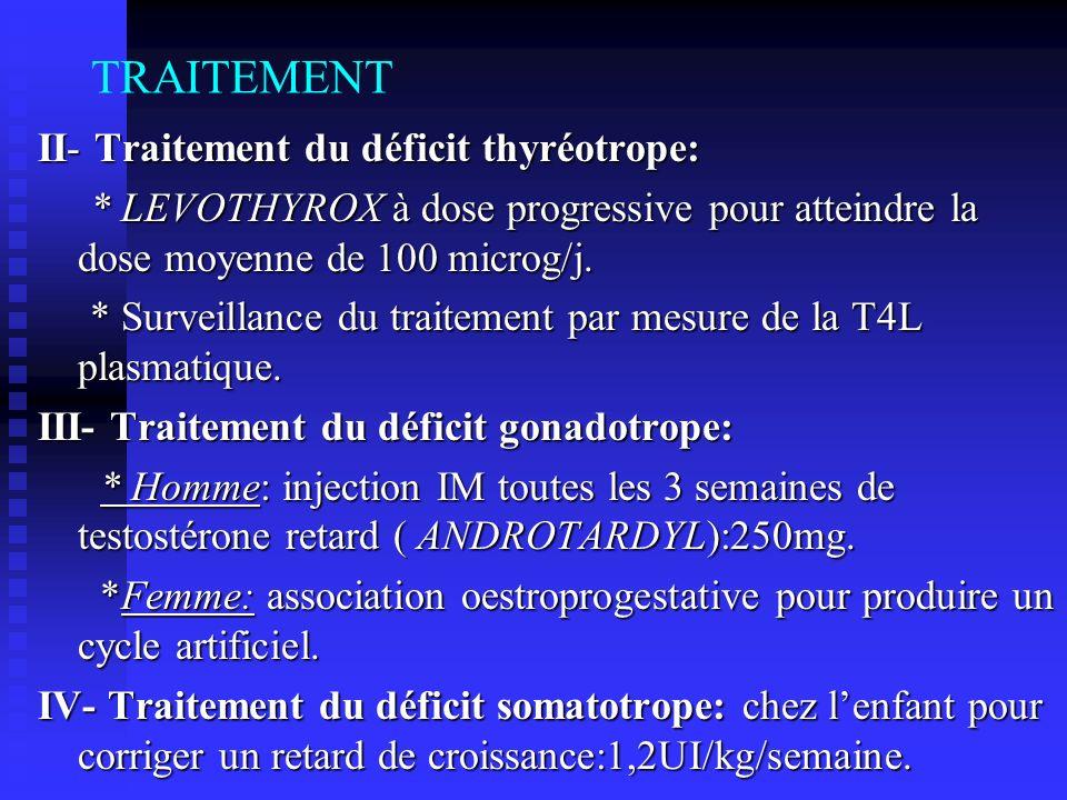 TRAITEMENT II- Traitement du déficit thyréotrope: * LEVOTHYROX à dose progressive pour atteindre la dose moyenne de 100 microg/j. * LEVOTHYROX à dose