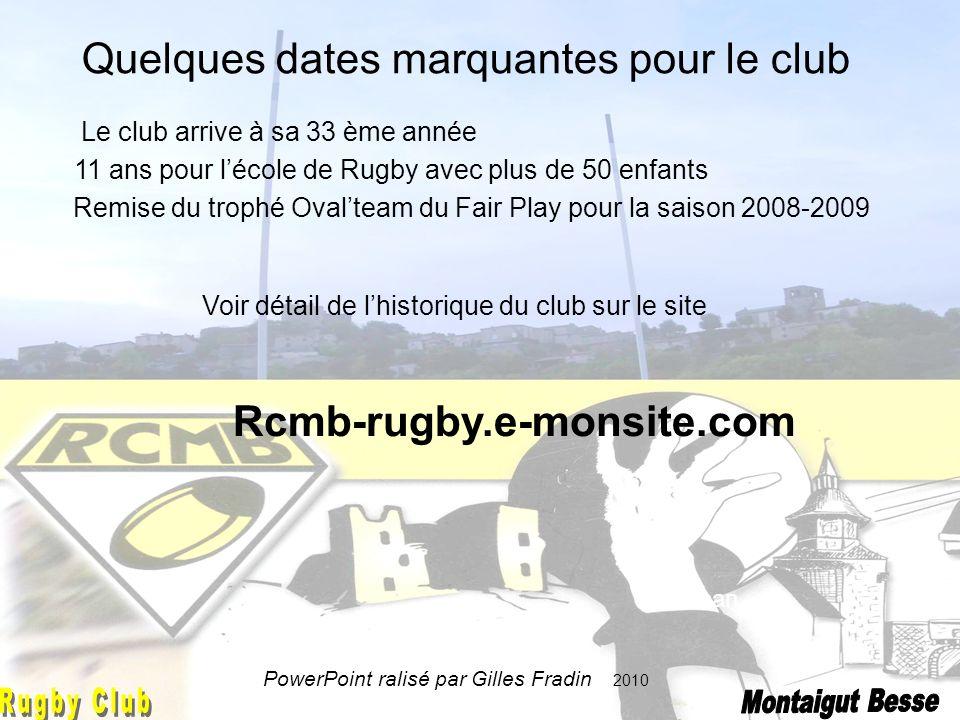 Jonathan Quelques dates marquantes pour le club Le club arrive à sa 33 ème année 11 ans pour lécole de Rugby avec plus de 50 enfants Remise du trophé