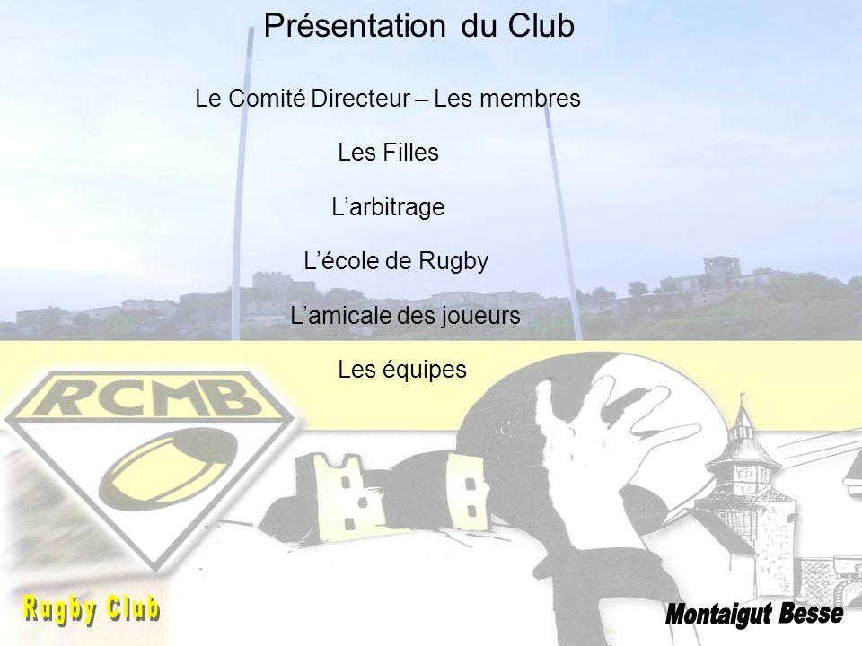 Présentation du Club Le Comité Directeur – Les membres Lamicale des joueurs Les équipes Lécole de Rugby Larbitrage Les Filles