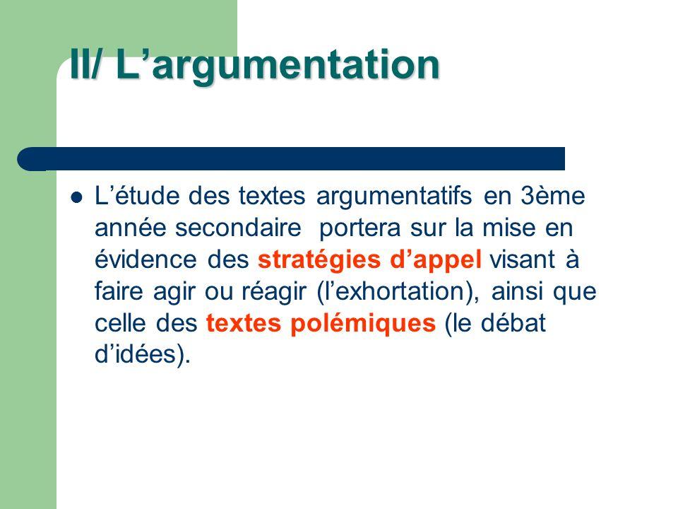 II/ Largumentation Létude des textes argumentatifs en 3ème année secondaire portera sur la mise en évidence des stratégies dappel visant à faire agir