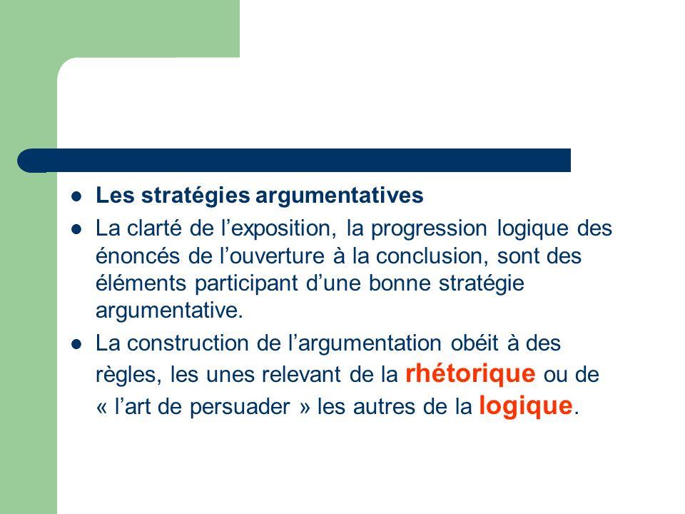 Les stratégies argumentatives La clarté de lexposition, la progression logique des énoncés de louverture à la conclusion, sont des éléments participan