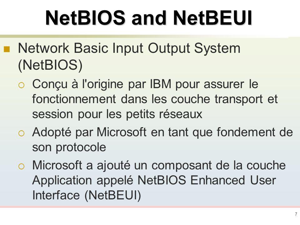 8NetBEUI Rapide et efficace Consomme moins de ressources réseau.