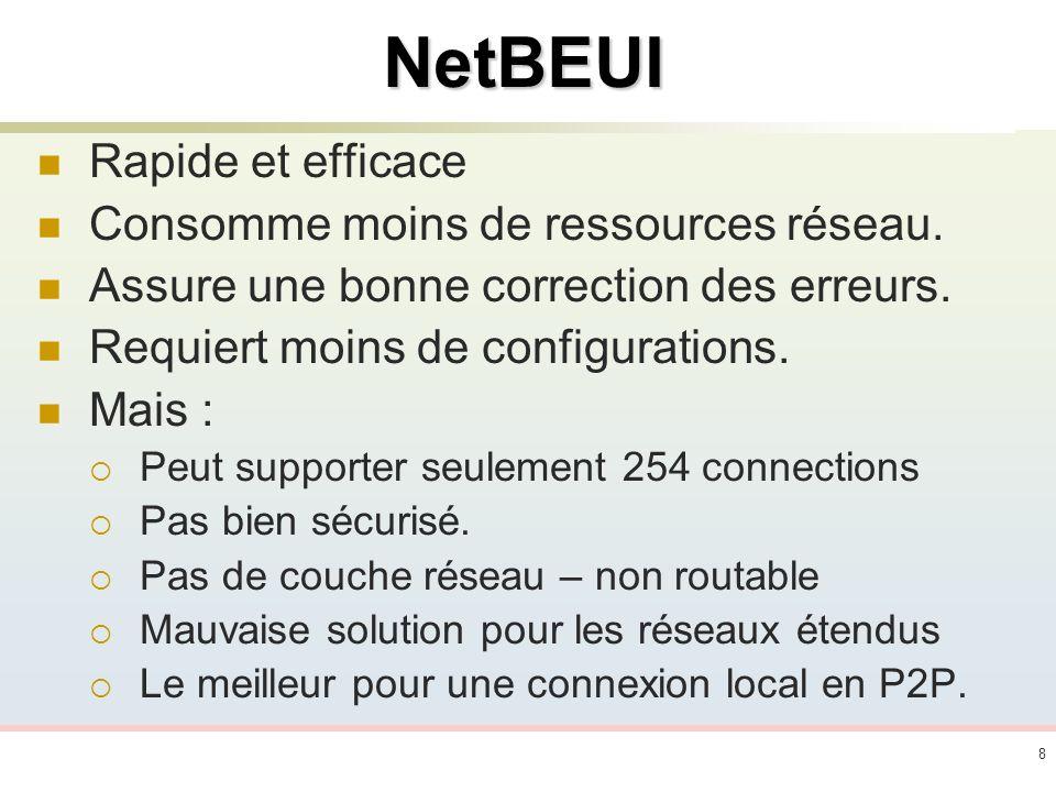 8NetBEUI Rapide et efficace Consomme moins de ressources réseau. Assure une bonne correction des erreurs. Requiert moins de configurations. Mais : Peu