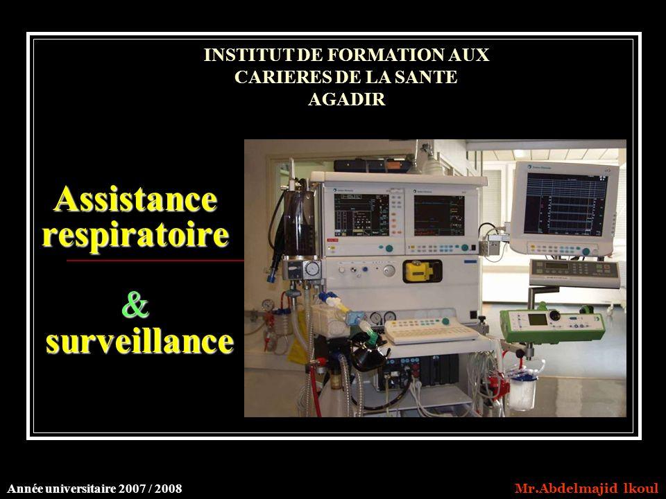 Assistance respiratoire & surveillance INSTITUT DE FORMATION AUX CARIERES DE LA SANTE AGADIR Année universitaire 2007 / 2008 Mr.Abdelmajid lkoul
