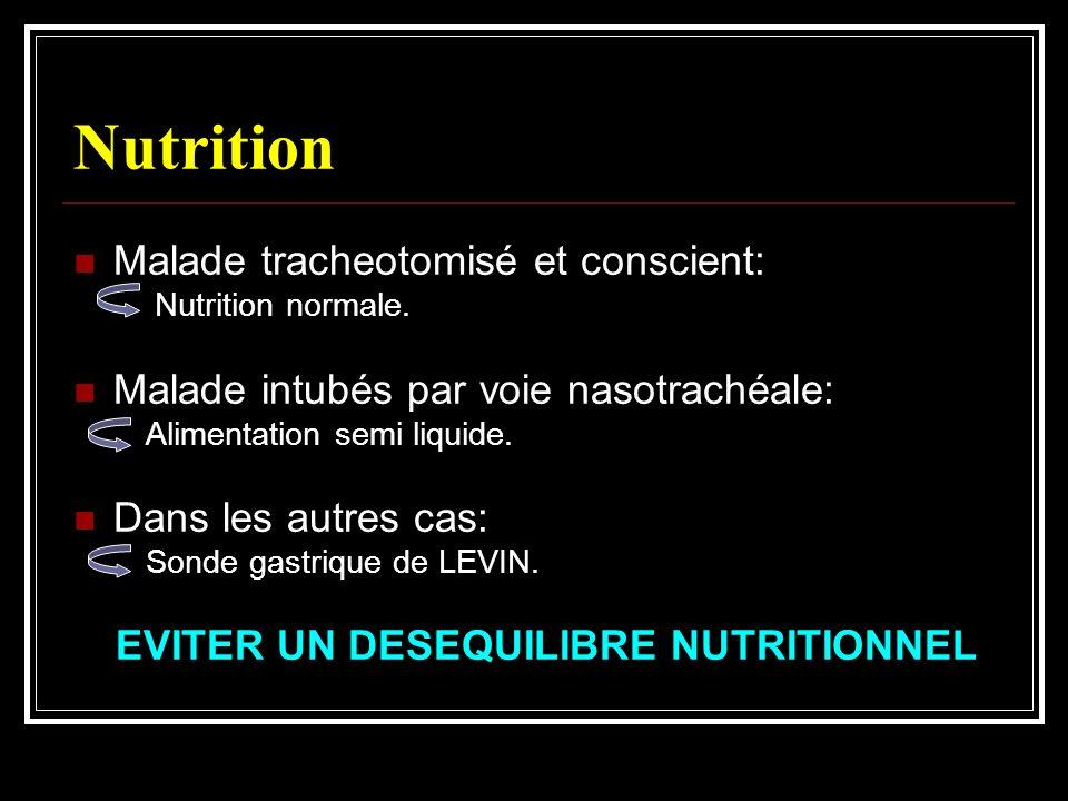 Nutrition Malade tracheotomisé et conscient: Nutrition normale. Malade intubés par voie nasotrachéale: Alimentation semi liquide. Dans les autres cas: