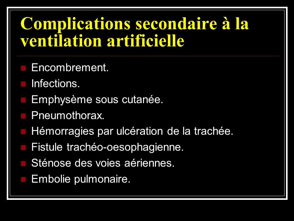 Complications secondaire à la ventilation artificielle Encombrement. Infections. Emphysème sous cutanée. Pneumothorax. Hémorragies par ulcération de l