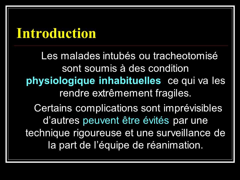 Introduction Les malades intubés ou tracheotomisé sont soumis à des condition physiologique inhabituelles ce qui va les rendre extrêmement fragiles. C