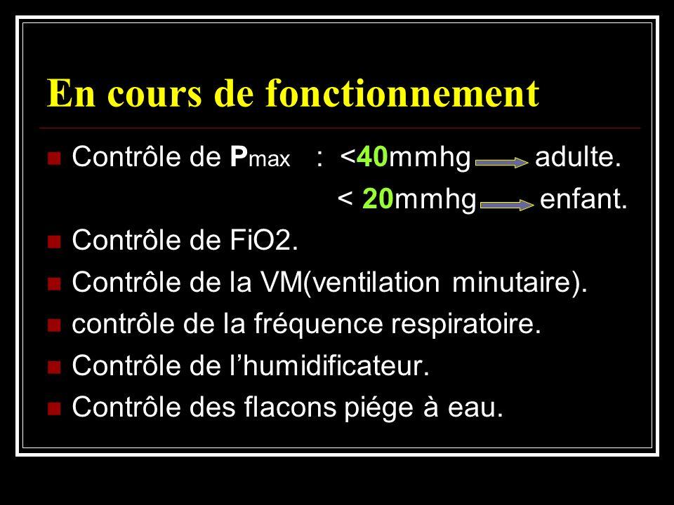 En cours de fonctionnement Contrôle de P max : <40mmhg adulte. < 20mmhg enfant. Contrôle de FiO2. Contrôle de la VM(ventilation minutaire). contrôle d