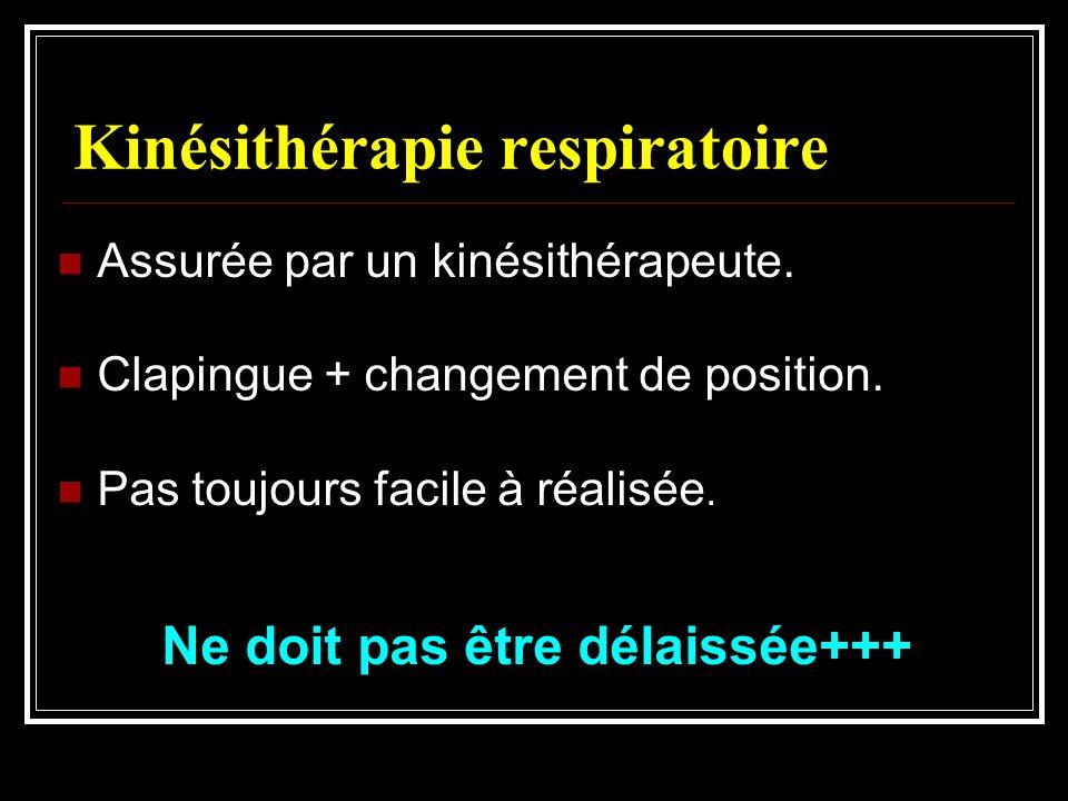 Kinésithérapie respiratoire Assurée par un kinésithérapeute. Clapingue + changement de position. Pas toujours facile à réalisée. Ne doit pas être déla
