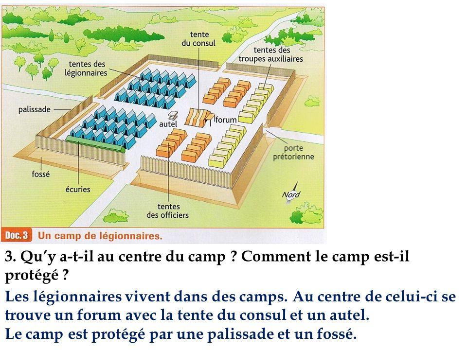 3. Quy a-t-il au centre du camp ? Comment le camp est-il protégé ? Les légionnaires vivent dans des camps. Au centre de celui-ci se trouve un forum av
