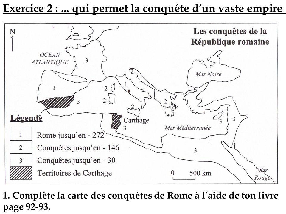 1. Complète la carte des conquêtes de Rome à laide de ton livre page 92-93. Exercice 2 :... qui permet la conquête dun vaste empire …