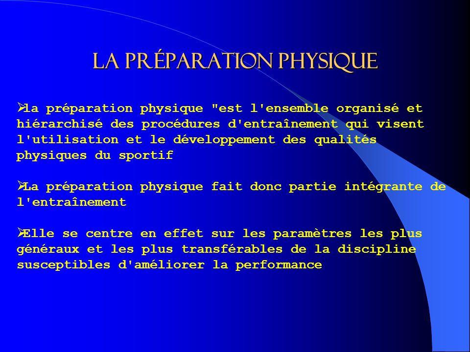 LA PRÉPARATION PHYSIQUE la préparation physique est l ensemble organisé et hiérarchisé des procédures d entraînement qui visent l utilisation et le développement des qualités physiques du sportif La préparation physique fait donc partie intégrante de l entraînement Elle se centre en effet sur les paramètres les plus généraux et les plus transférables de la discipline susceptibles d améliorer la performance