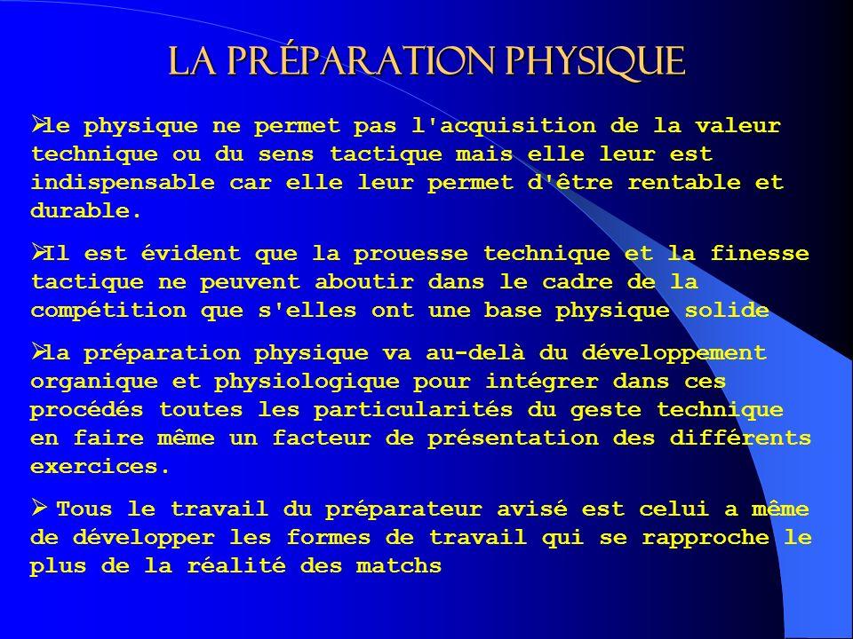 La préparation physique le physique ne permet pas l acquisition de la valeur technique ou du sens tactique mais elle leur est indispensable car elle leur permet d être rentable et durable.
