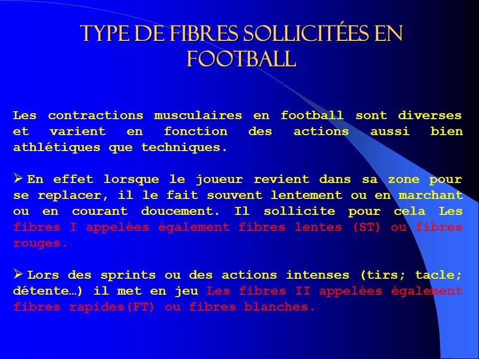 Type de fibres sollicitées en football Les contractions musculaires en football sont diverses et varient en fonction des actions aussi bien athlétiques que techniques.