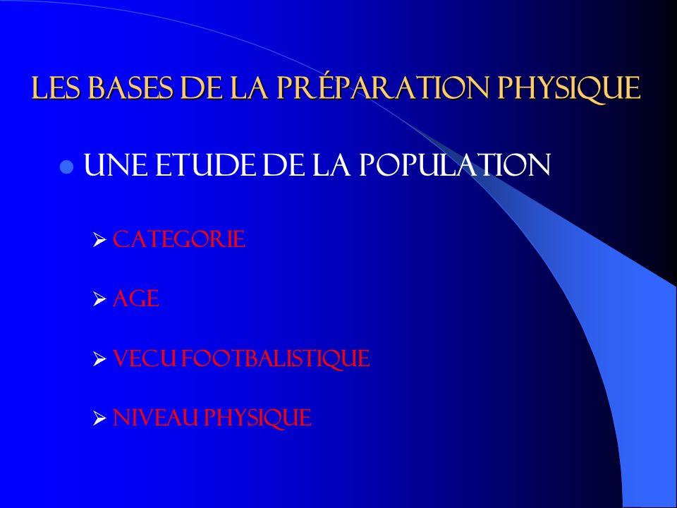 LES BASES DE LA PRéPARATION PHYSIQUE UNE ETUDE DE LA POPULATION CATEGORIE AGE VECU FOOTBALISTIQUE NIVEAU PHYSIQUE