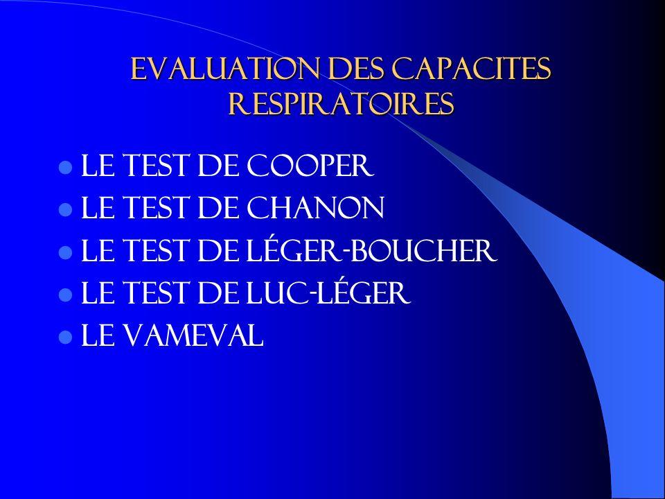Evaluation des capacites respiratoires Le test de Cooper Le test de chanon Le test de Léger-Boucher Le test de Luc-léger Le VAMEVAL
