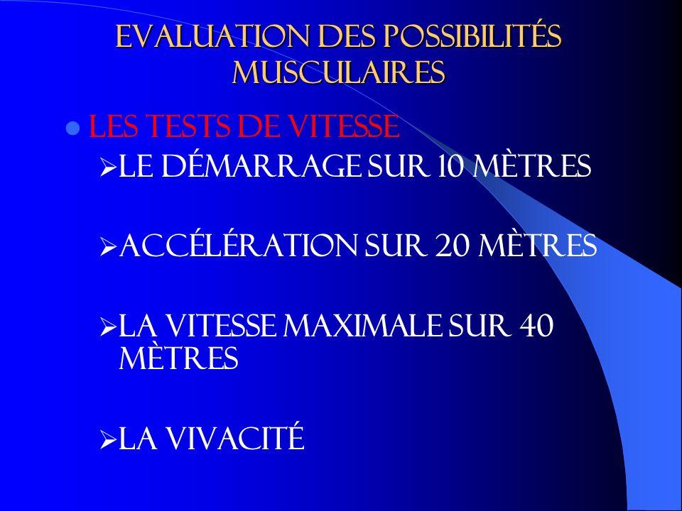 Evaluation des possibilités musculaires LES TESTS DE VITESSE Le démarrage sur 10 mètres accélération sur 20 mètres La vitesse maximale sur 40 mètres La vivacité