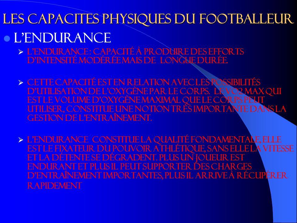 Les capacites physiques du footballeur Lendurance L endurance : capacité à produire des efforts d intensité modérée mais de longue durée.