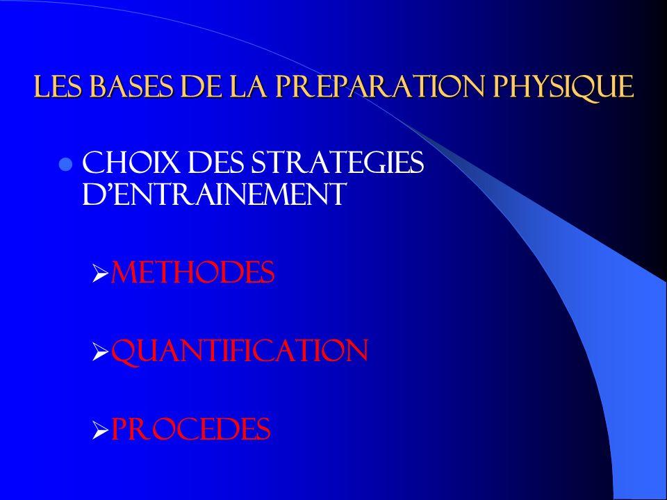LES BASES DE LA PREPARATION PHYSIQUE CHOIX DES STRATEGIES DENTRAINEMENT METHODES QUANTIFICATION PROCEDES