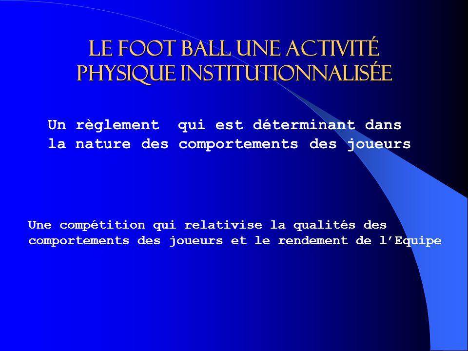 Le foot ball une activité physique institutionnalisée Un règlement qui est déterminant dans la nature des comportements des joueurs Une compétition qui relativise la qualités des comportements des joueurs et le rendement de lEquipe