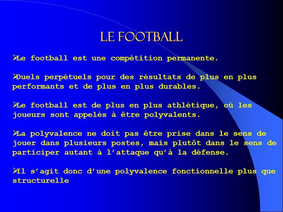 Le football Le football est une compétition permanente.