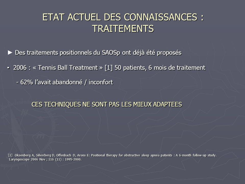 ETAT ACTUEL DES CONNAISSANCES : TRAITEMENTS Des traitements positionnels du SAOSp ont déjà été proposés Des traitements positionnels du SAOSp ont déjà