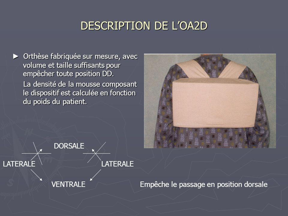 DESCRIPTION DE LOA2D Orthèse fabriquée sur mesure, avec volume et taille suffisants pour empêcher toute position DD. Orthèse fabriquée sur mesure, ave