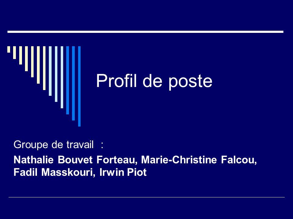 Profil de poste Groupe de travail : Nathalie Bouvet Forteau, Marie-Christine Falcou, Fadil Masskouri, Irwin Piot