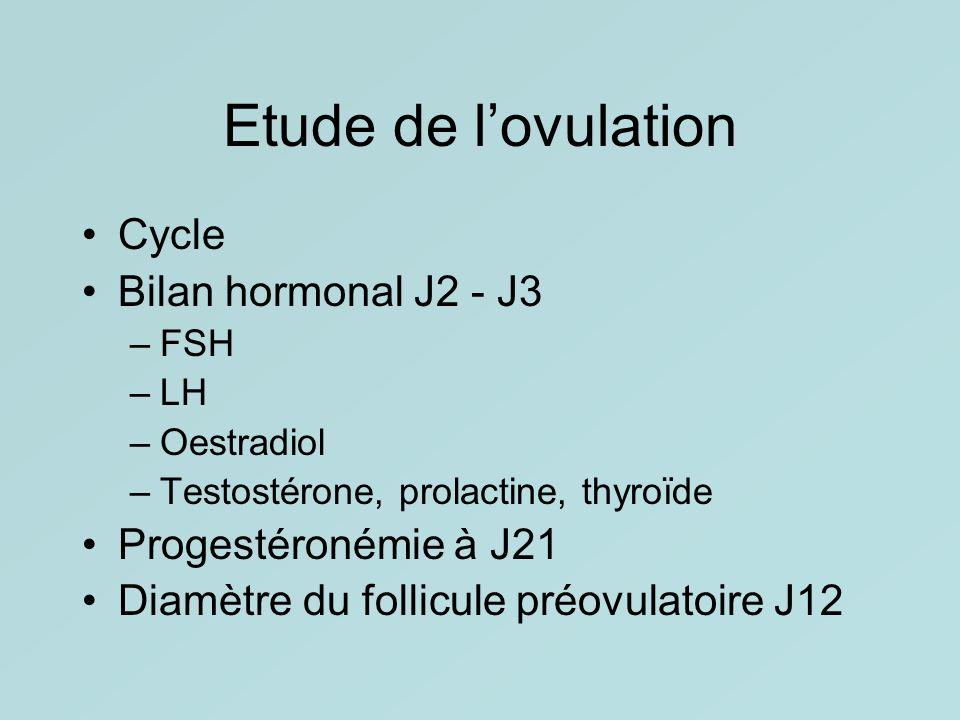 Etude de lovulation Cycle Bilan hormonal J2 - J3 –FSH –LH –Oestradiol –Testostérone, prolactine, thyroïde Progestéronémie à J21 Diamètre du follicule