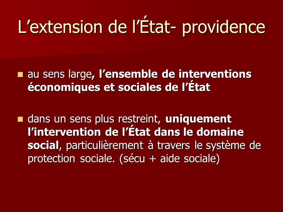 Lextension de lÉtat- providence au sens large, lensemble de interventions économiques et sociales de lÉtat au sens large, lensemble de interventions é