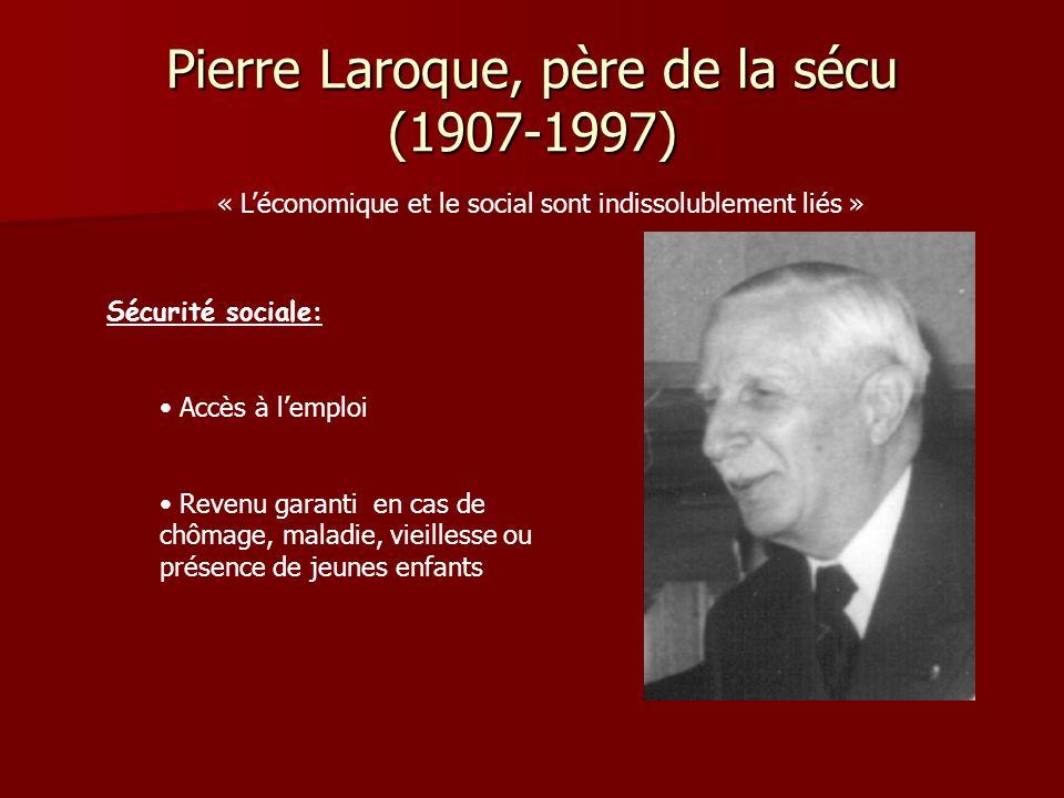 Pierre Laroque, père de la sécu (1907-1997) « Léconomique et le social sont indissolublement liés » Sécurité sociale: Accès à lemploi Revenu garanti e