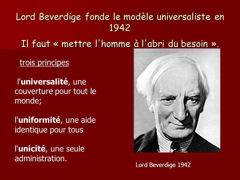 Lord Beverdige fonde le modèle universaliste en 1942 Il faut « mettre l'homme à l'abri du besoin ». trois principes l'universalité, une couverture pou