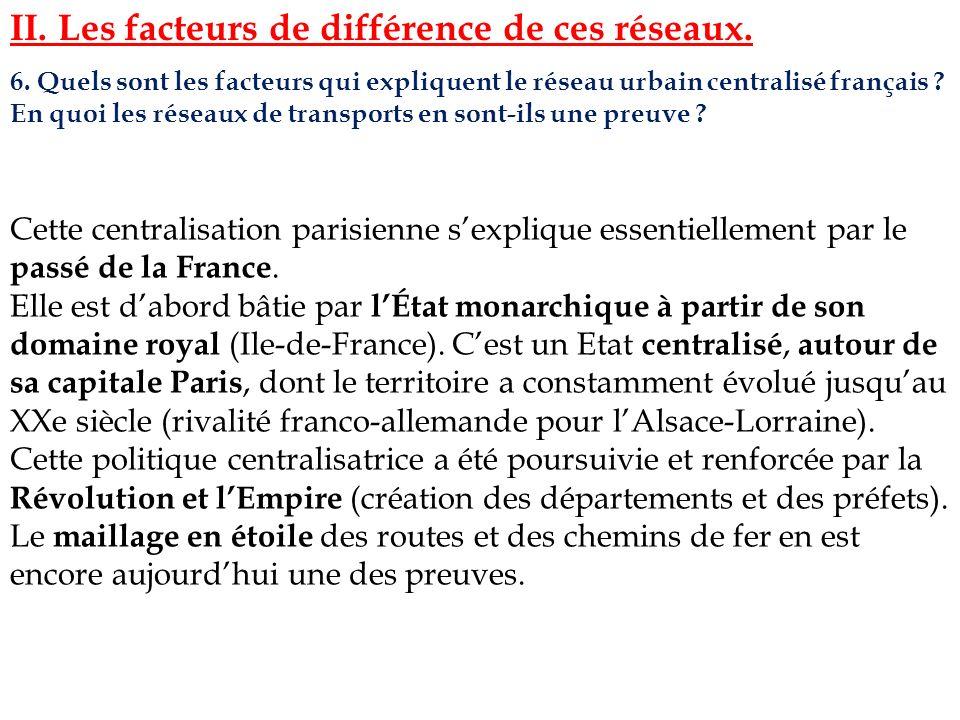 6. Quels sont les facteurs qui expliquent le réseau urbain centralisé français ? En quoi les réseaux de transports en sont-ils une preuve ? II. Les fa