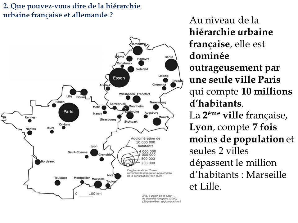 2. Que pouvez-vous dire de la hiérarchie urbaine française et allemande ? Au niveau de la hiérarchie urbaine française, elle est dominée outrageusemen