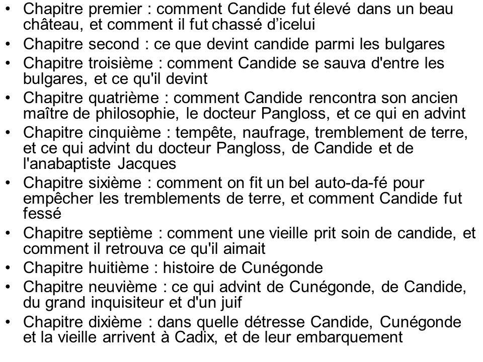 Chapitre premier : comment Candide fut élevé dans un beau château, et comment il fut chassé dicelui Chapitre second : ce que devint candide parmi les