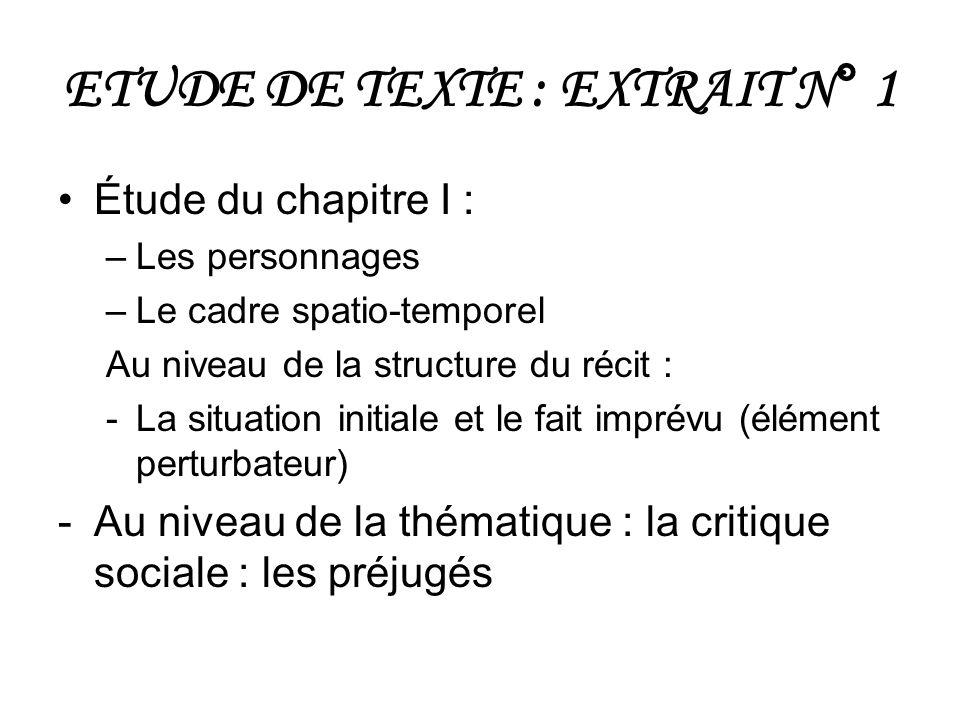 ETUDE DE TEXTE : EXTRAIT N° 1 Étude du chapitre I : –Les personnages –Le cadre spatio-temporel Au niveau de la structure du récit : -La situation init