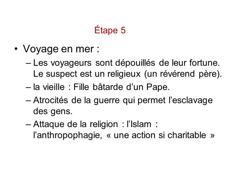 Voyage en mer : –Les voyageurs sont dépouillés de leur fortune. Le suspect est un religieux (un révérend père). –la vieille : Fille bâtarde dun Pape.