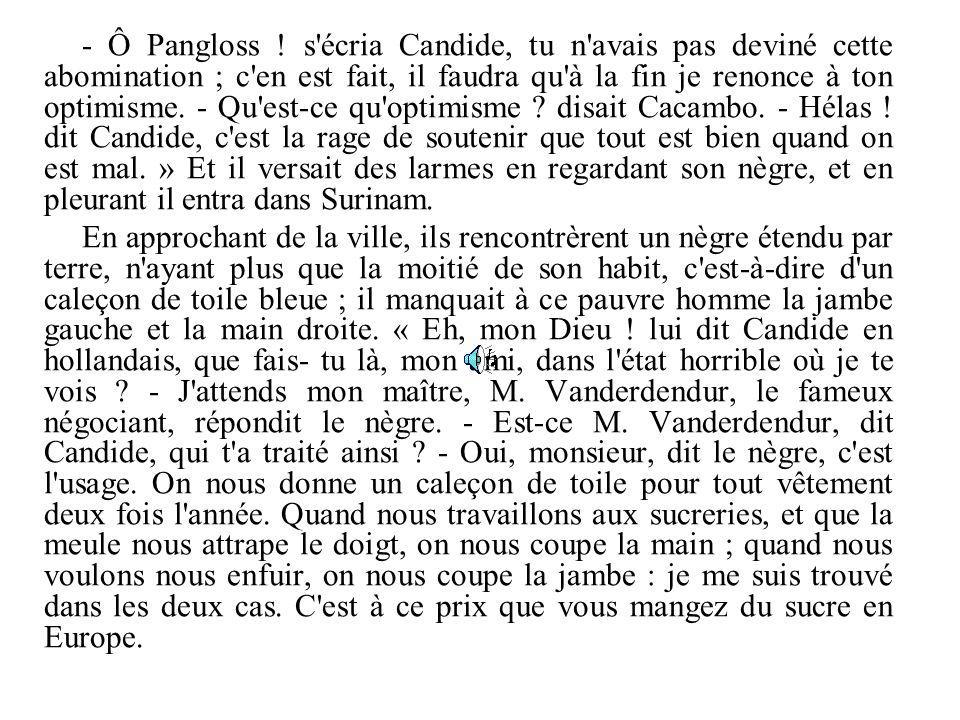 - Ô Pangloss ! s'écria Candide, tu n'avais pas deviné cette abomination ; c'en est fait, il faudra qu'à la fin je renonce à ton optimisme. - Qu'est-ce