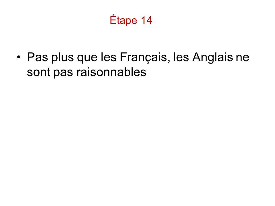 Pas plus que les Français, les Anglais ne sont pas raisonnables Étape 14