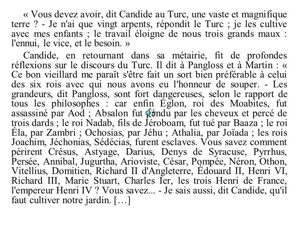 « Vous devez avoir, dit Candide au Turc, une vaste et magnifique terre ? - Je n'ai que vingt arpents, répondit le Turc ; je les cultive avec mes enfan